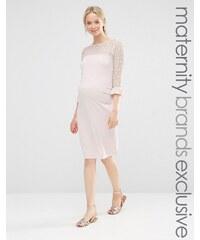 Bluebelle Maternity - Figurbetontes Kleid mit Spitzeneinsatz - Rosa