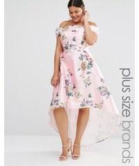 Chi Chi Plus Chi Chi London Plus - Robe longue imprimée style Bardot courte devant et longue derrière - Multi