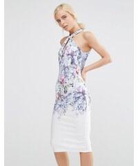 Hope And Ivy - Robe fourreau mi-longue à col montant avec imprimé floral placé - Blanc