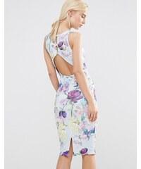 Hope And Ivy - Robe fourreau à dos découvert avec imprimé fleurs du jardin - Bleu