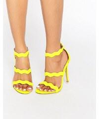 Public Desire - Ela - Sandalen mit Absatz und Riemchen in Neongelb - Gelb