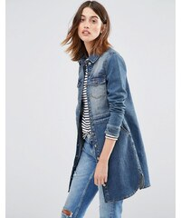 Warehouse - Veste en jean coupe longue - Bleu