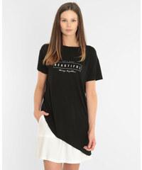 T-shirt asymétrique à message noir, Femme, Taille L -PIMKIE- MODE FEMME