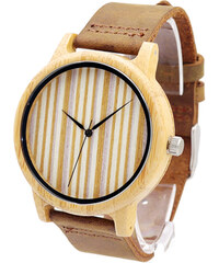 Lesara Bambus-Armbanduhr mit gestreiften Zifferblatt