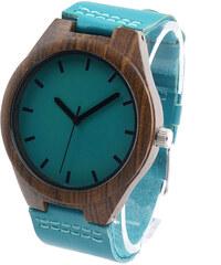 Lesara Sandelholz-Armbanduhr mit Lederband Türkis