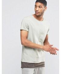 ASOS - Superlanges, graues T-Shirt in zweilagiger Optik mit Ziernaht und U-Boot-Ausschnitt - Beige