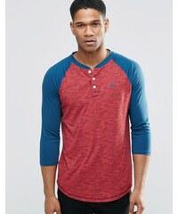 Hollister - Schmales Baseball-T-Shirt mit 3/4-Ärmeln, weinrot - Rot