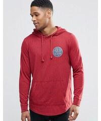 Hollister - Langärmliges T-Shirt mit Kapuze und Rückenprint und Muskelschnitt - Rot