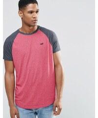Hollister - T-shirt cintré avec manches raglan contrastantes - Rose - Rose