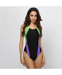 Lesara Badeanzug mit Ringerrücken & farbigen Details - L