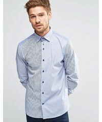 Dickens and Browne - Chemise stretch manches longues à boutons à motifs variés - Bleu marine