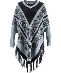 bpc bonprix collection Poncho-Pullover langarm in silber für Damen von bonprix