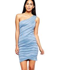 Saténové šaty na jedno rameno City Goddess modré