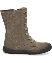 Eram Boots fleuri croûte de cuir taupe