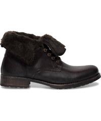 Eram Boots cranté cuir marron col fourrure