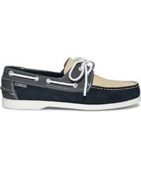 Hush puppies Chaussure bateau cuir bleu et blanc
