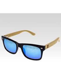 VeyRey dřevěné sluneční brýle Sawdust modrá skla.