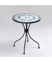 PALAZZO Stůl s mozaikou modrý/ béžový