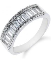Meucci Stříbrný prsten s řadou obdélníkových zirkonů
