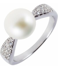 Meucci Elegantní stříbrný prsten s perlou a zirkony
