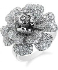 Meucci Luxusní stříbrný květinový prsten se stovkami zirkonů