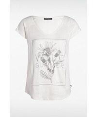 T-shirt femme imprimé fleur Blanc Coton - Femme Taille M - Bonobo