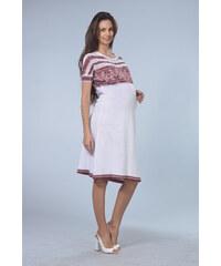 RITO Letní bílé těhotenské šaty s žakárovým vzorem