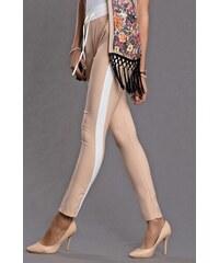 Emamoda Slim nude kalhoty s lampasy