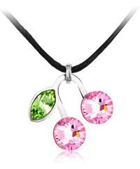Swarovski Elements Halskette mit Swarovski® Elements-Anhänger im Kirsch-Design - Pink-Silber