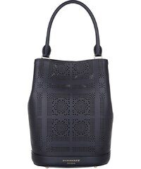 Burberry Sacs à Bandoulière, Perforated Bucket Bag Calf Leather Black en noir