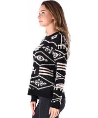 Lesara Chenille-Pullover mit Ethno-Muster - Schwarz - S