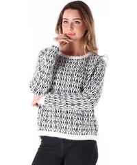 Lesara Pullover mit schwarz-weißem Muster - Weiß - S