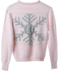 Lesara Pullover mit Schneeflocken-Motiv - Pink - S