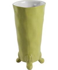 Váza/květináč Art, zelená/bílá
