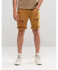 ASOS - Short slim en jean ultra déchiré - Marron - Marron