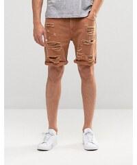 ASOS - Short slim en jean ultra déchiré - Rouille - Marron