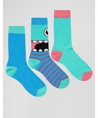 ASOS - Lot de 3 paires de chaussettes motif monstre - Multi