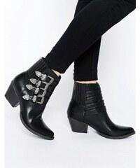 Glamorous - Bottines à boucles multiples style western - Noir