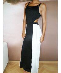 001 Dámské šaty černobílé dlouhé