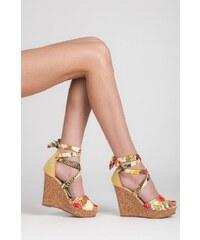 SEASTAR Efektní žluté sandály s vázáním