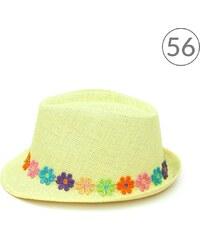 Art of Polo Trilby dívčí klobouk zdobený barevnými květinami žlutý