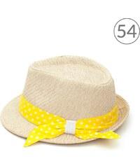 Art of Polo Letní klobouk zdobený žlutou puntíkovanou stuhou