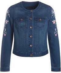 Veste jean broderies florales manches Bleu Coton - Femme Taille 42 - Bréal