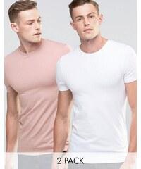 ASOS - Lot de 2 t-shirts ras de cou très moulants - - Blanc/rose - Multi