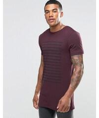 ASOS - T-shirt long moulant à rayures - Bordeaux - Rouge
