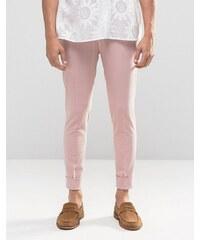 ASOS - Pantalon en jersey super skinny avec ourlets à revers - Rose - Rose