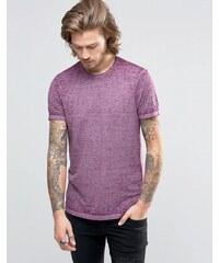 ASOS - T-shirt avec encolure ras du cou à bords bruts et effet délavé - Violet