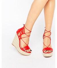Daisy Street - Espadrilles lacées avec semelle compensée - Rouge