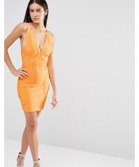 Missguided - Hochwertiges, figurbetontes Bandagenkleid - Orange