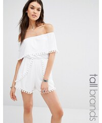 Missguided Tall - Bardot-Overall mit Bommelverzierung - Weiß